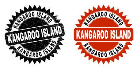 Black rosette KANGAROO ISLAND watermark. Flat vector grunge stamp with KANGAROO ISLAND caption inside sharp rosette, and original clean template. Watermark with distress texture.  イラスト・ベクター素材