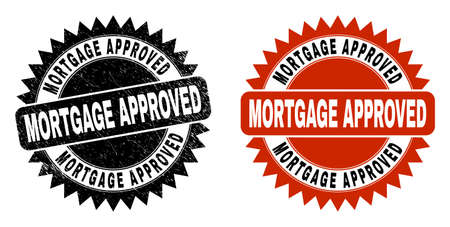 Black rosette MORTGAGE APPROVED seal stamp. Flat vector textured seal stamp with MORTGAGE APPROVED caption inside sharp rosette, and original clean template. Imprint with unclean surface. Illustration