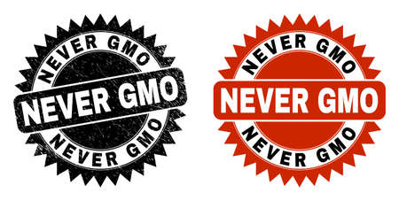 Black rosette NEVER GMO seal stamp. Flat vector scratched seal stamp with NEVER GMO text inside sharp rosette, and original clean template. Imprint with scratched texture.