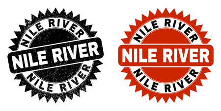 Black rosette NILE RIVER watermark. Flat vector distress seal stamp with NILE RIVER caption inside sharp rosette, and original clean source. Watermark with corroded texture.