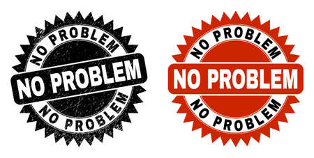 Black rosette NO PROBLEM seal stamp. Flat vector textured stamp with NO PROBLEM caption inside sharp rosette, and original clean source. Watermark with unclean texture.