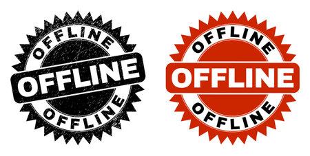 Black rosette OFFLINE seal stamp. Flat vector scratched seal stamp with OFFLINE phrase inside sharp rosette, and original clean version. Rubber imitation with scratched surface. Illustration