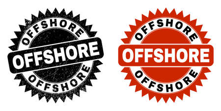 Black rosette OFFSHORE seal stamp. Flat vector grunge seal stamp with OFFSHORE message inside sharp rosette, and original clean version. Imprint with distress style.