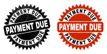 Black rosette PAYMENT DUE stamp. Flat vector scratched stamp with PAYMENT DUE title inside sharp rosette, and original clean template. Rubber imitation with scratched texture. Vector Illustration