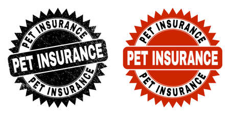 Black rosette PET INSURANCE stamp. Flat vector scratched seal stamp with PET INSURANCE phrase inside sharp star shape, and original clean version. Imprint with scratched style.