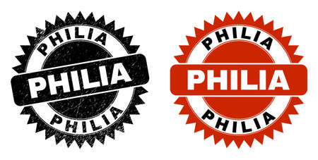 Black rosette PHILIA seal stamp. Flat vector distress stamp with PHILIA phrase inside sharp rosette, and original clean version. Watermark with distress texture.