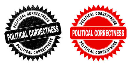 Black rosette POLITICAL CORRECTNESS watermark. Flat vector scratched watermark with POLITICAL CORRECTNESS text inside sharp rosette, and original clean version. Watermark with corroded surface. Ilustrace