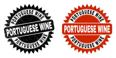 Black rosette PORTUGUESE WINE seal stamp. Flat vector textured seal stamp with PORTUGUESE WINE message inside sharp rosette, and original clean version. Watermark with distress style. Illusztráció