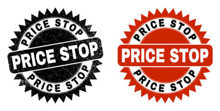 Black rosette PRICE STOP watermark. Flat vector scratched stamp with PRICE STOP phrase inside sharp rosette, and original clean source. Watermark with distress style. Ilustración de vector