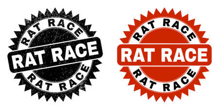 Black rosette RAT RACE seal stamp. Flat vector textured seal stamp with RAT RACE message inside sharp rosette, and original clean template. Rubber imitation with corroded style.