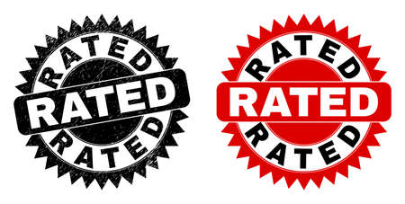 Black rosette RATED seal. Flat vector scratched seal stamp with RATED message inside sharp rosette, and original clean template. Rubber imitation with scratched surface. Vektoros illusztráció