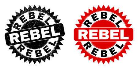 Black rosette REBEL seal. Flat vector grunge seal with REBEL message inside sharp rosette, and original clean version. Rubber imitation with grunge surface. Vectores