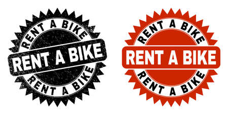 Black rosette RENT A BIKE seal stamp. Flat vector scratched seal stamp with RENT A BIKE caption inside sharp rosette, and original clean source. Watermark with grunged style.