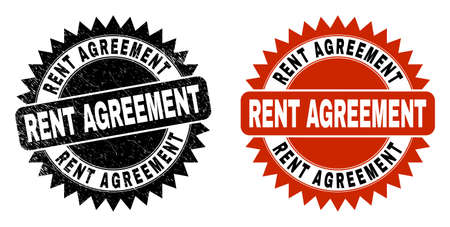 Black rosette RENT AGREEMENT seal stamp. Flat vector distress seal stamp with RENT AGREEMENT text inside sharp rosette, and original clean template. Imprint with grunge surface.