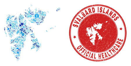 Vector mosaic Svalbard Islands map with vaccine icons, hospital symbols, and grunge health care imprint. Red round imprint with distress rubber texture and Svalbard Islands map text and map.