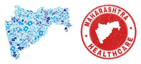 Vector mosaic Maharashtra State map of dose icons, labs symbols, and grunge healthcare rubber imitation. Red round seal with grunge rubber texture and Maharashtra State map text and map.
