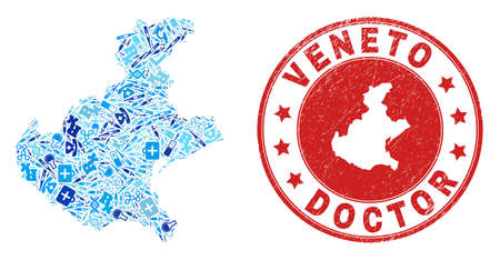 Vector collage Veneto region map with vaccine icons, labs symbols, and grunge health care imprint. Red round imprint with distress rubber texture and Veneto region map text and map.