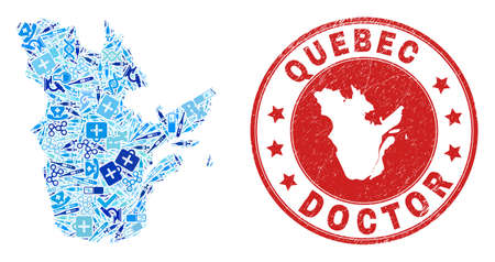 Vector collage Quebec Province map with healthcare icons, analysis symbols, and grunge healthcare imprint. Red round imprint with grunge rubber texture and Quebec Province map word and map.