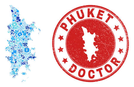 Vector collage Phuket map with dose icons, hospital symbols, and grunge doctor stamp. Red round stamp with grunge rubber texture and Phuket map word and map.