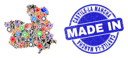 Technical mosaic Castile-La Mancha Province map and MADE IN grunge stamp seal. Castile-La Mancha Province map collage formed with spanners,cogs,screwdrivers,,keys,airplanes,aircrafts,air planes,