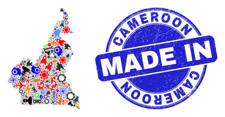 Development Cameroon map mosaic and MADE IN textured rubber stamp. Cameroon map mosaic designed with wrenches, gearwheels,instruments,,keys,vehicles,electricity bolts,details.