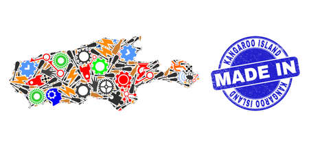 Development mosaic Kangaroo Island map and MADE IN distress stamp seal. Kangaroo Island map mosaic created from wrenches,wheels,instruments,,keys,airplanes,aircrafts,air planes,aviation symbols,cars,  イラスト・ベクター素材
