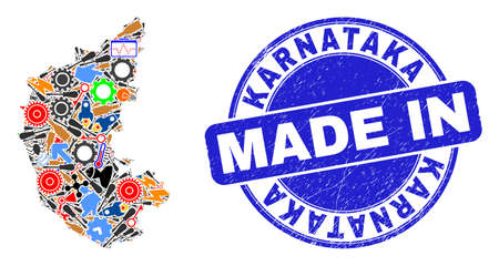 Development mosaic Karnataka State map and MADE IN distress rubber stamp. Karnataka State map mosaic created with spanners,cogs,instruments,,keys,airplanes,aircrafts,air planes,aviation symbols,