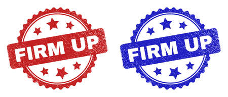 Rosette FIRM UP seal stamps. Flat vector grunge seal stamps with FIRM UP message inside rosette shape with stars, in blue and red color versions. Imprints with unclean texture.