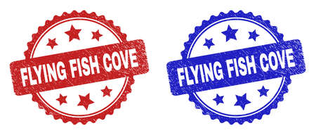 Rosette FLYING FISH COVE watermarks. Flat vector textured watermarks with FLYING FISH COVE text inside rosette shape with stars, in blue and red color variants. Watermarks with unclean surface.