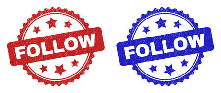 Rosette FOLLOW watermarks. Flat vector scratched seals with FOLLOW text inside rosette shape with stars, in blue and red color variants. Watermarks with distress texture. 向量圖像