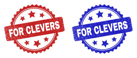 Rosette FOR CLEVERS seal stamps. Flat vector distress seal stamps with FOR CLEVERS message inside rosette shape with stars, in blue and red color variants. Rubber imitations with distress style.