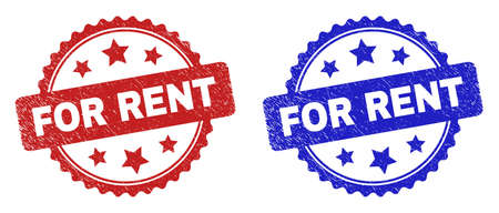 Rosette FOR RENT watermarks. Flat vector scratched seal stamps with FOR RENT title inside rosette shape with stars, in blue and red color versions. Watermarks with scratched style.