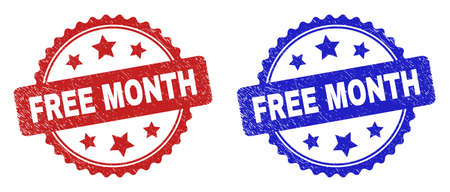 Rosette FREE MONTH stamps. Flat vector grunge stamps with FREE MONTH phrase inside rosette shape with stars, in blue and red color versions. Imprints with grunge surface.