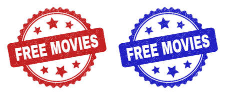 Rosette FREE MOVIES seals. Flat vector grunge seals with FREE MOVIES title inside rosette shape with stars, in blue and red color versions. Imprints with unclean style.