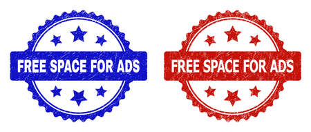 Rosette FREE SPACE FOR ADS seal stamps. Flat vector textured seal stamps with FREE SPACE FOR ADS text inside rosette shape with stars, in blue and red color variants. Watermarks with corroded style. 向量圖像
