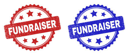 Rosette FUNDRAISER seal stamps. Flat vector grunge seal stamps with FUNDRAISER phrase inside rosette with stars, in blue and red color variants. Imprints with unclean surface.