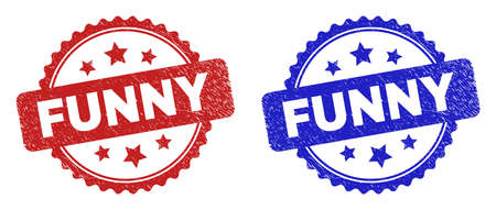Rosette FUNNY seal stamps. Flat vector grunge seal stamps with FUNNY phrase inside rosette shape with stars, in blue and red color versions. Imprints with scratched texture.