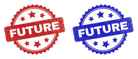 Rosette FUTURE seal stamps. Flat vector grunge seal stamps with FUTURE title inside rosette with stars, in blue and red color variants. Watermarks with grunge surface.