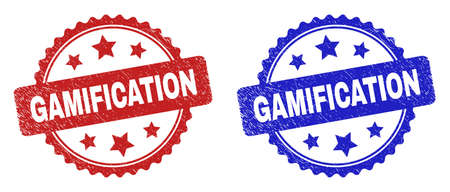 Rosette GAMIFICATION seal stamps. Flat vector scratched seal stamps with GAMIFICATION phrase inside rosette shape with stars, in blue and red color versions. Rubber imitations with grunge style.