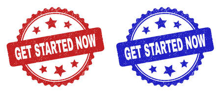 Rosette GET STARTED NOW seal stamps. Flat vector textured seal stamps with GET STARTED NOW phrase inside rosette with stars, in blue and red color variants. Imprints with distress surface.