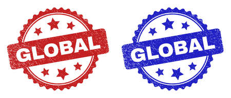 Rosette GLOBAL seals. Flat vector distress seals with GLOBAL text inside rosette shape with stars, in blue and red color variants. Imprints with distress style.