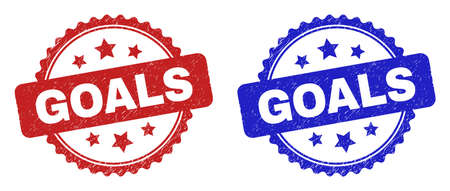 Rosette GOALS seals. Flat vector textured watermarks with GOALS caption inside rosette shape with stars, in blue and red color versions. Watermarks with distress style.