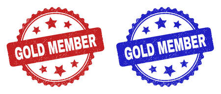 Rosette GOLD MEMBER stamps. Flat vector scratched seal stamps with GOLD MEMBER message inside rosette shape with stars, in blue and red color versions. Imprints with scratched surface.