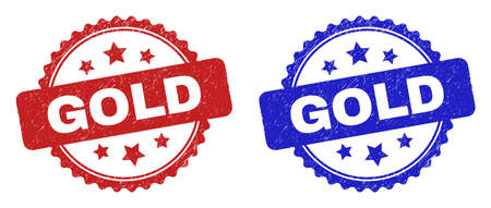 Rosette GOLD watermarks. Flat vector distress watermarks with GOLD phrase inside rosette with stars, in blue and red color versions. Watermarks with corroded texture. Ilustrace