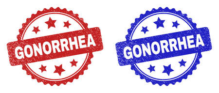 Rosette GONORRHEA seal stamps. Flat vector distress seal stamps with GONORRHEA caption inside rosette with stars, in blue and red color variants. Rubber imitations with corroded texture. Ilustração Vetorial