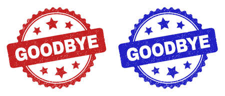 Rosette GOODBYE seal stamps. Flat vector distress seal stamps with GOODBYE phrase inside rosette with stars, in blue and red color versions. Rubber imitations with grunged surface.