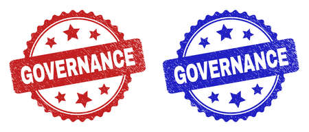 Rosette GOVERNANCE seal stamps. Flat vector distress stamps with GOVERNANCE caption inside rosette shape with stars, in blue and red color versions. Rubber imitations with distress surface.