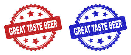Rosette GREAT TASTE BEER seal stamps. Flat vector scratched watermarks with GREAT TASTE BEER caption inside rosette with stars, in blue and red color variants. Watermarks with scratched texture.