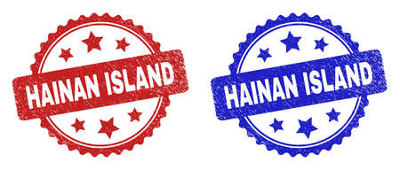 Rosette HAINAN ISLAND stamps. Flat vector distress stamps with HAINAN ISLAND phrase inside rosette with stars, in blue and red color versions. Rubber imitations with grunge texture.