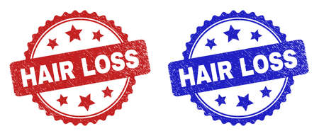Rosette HAIR LOSS seal stamps. Flat vector grunge stamps with HAIR LOSS title inside rosette with stars, in blue and red color versions. Rubber imitations with grunge texture.